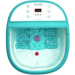 Foot Spa Bath Massager Tem/Time Set Heat Bubble Vibration W/