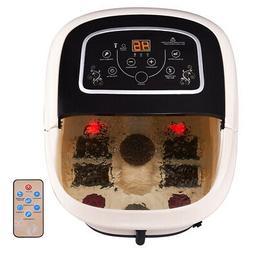 Foot Spa Bath Massager w/ Heat Vibration Tem/Time Set 4 Roll