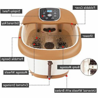 All-In-One Foot Spa Massager Tem/Time Set Heat Bubble Vibration Roller