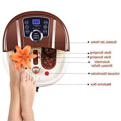 Foot Bath with Pedicure Spa Motorized Shiatsu Acupuncture Conversion, O2 Adjustable & Temperature, LED Display