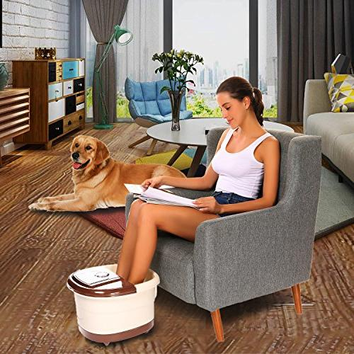 Foot Spa Massager with Motorized Shiatsu Acupuncture O2 Bubbles, & Temperature, Display