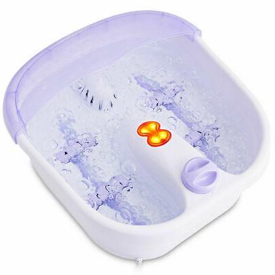 Foot Spa Bath Bubble Heating Wheels Light Relax Health