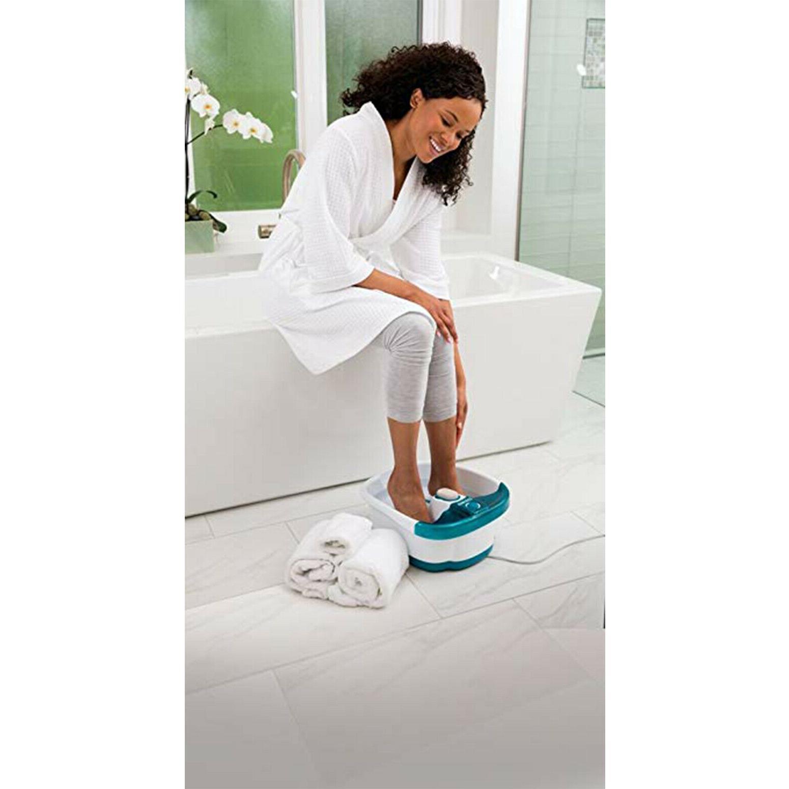 Foot Bath Jets Massager Toe-Touch w Heat Bubbles