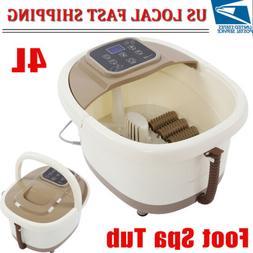 Portable Foot Spa Bath Massager Bubble Heat Roller LED Displ