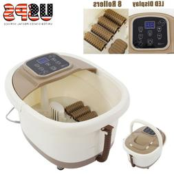 Portable Foot Spa Bath Massager Bubble Heat LED Display Infr