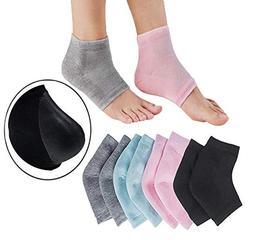 KongNai Vented Moisturizing Gel Heel Sleeves Socks 4 Pairs w
